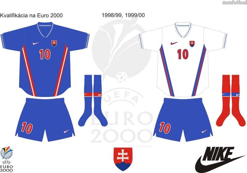 Dresy národného tímu z neúspešnej kvalifikácie na EURO 2000.