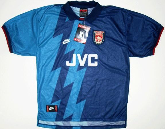Náhradné dresy Arsenalu zo sezóny 1995/96.